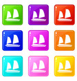 vietnamese junk boat icons 9 set vector image vector image
