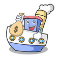 with money bag ship character cartoon style vector image vector image