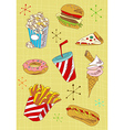 Grunge fast food icons set vector image