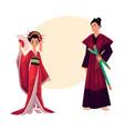 japanese geisha and samurai in traditional kimono vector image