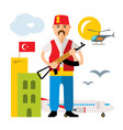 turkey airport security officer flat vector image