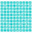 100 farm icons set grunge blue vector image vector image
