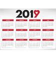 2019 calendar all year months days with heart vector image vector image