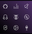 audio icons line style set with harp mute vinyl vector image vector image