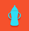 baby bottle sign whitish icon on brick vector image vector image