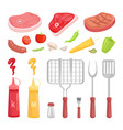 bbq set barbecue equipment and meat icon vector image