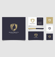 beauty women shield logo and business card good vector image vector image