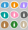 bottle icon symbols Multicolored paper stickers vector image