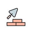 bricks with building trowel brickwork flat color vector image vector image