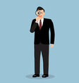 Businessman with a magnifying glass vector image vector image