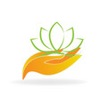 caring hands with nature leafs icon vector image vector image
