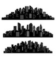 cityscape silhouette city buildings night town vector image