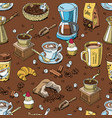 coffee set coffeebeans and coffeecup drink vector image vector image
