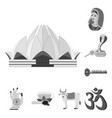 country india monochrome icons in set collection vector image