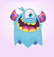 cute cartoon monster with horns with one eye vector image vector image
