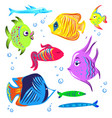 cute fishes cartoon collection vector image vector image