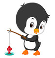 cute penguin fishing vector image