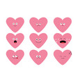 cute pink heart shape emoji set funny kawaii vector image