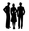 elegant silhouettes three two men and woman vector image vector image