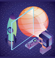 gamer vr glasses watching space ship planet vector image vector image