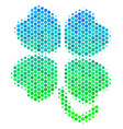 halftone blue-green four-leafed clover icon vector image vector image