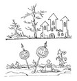 hand drawn doodle cartoon elements of halloween vector image