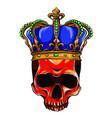hand drawn king skull wearing crown vector image vector image