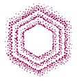 hexagonal pointillism style frame vector image vector image