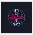 karaoke party logo round microphone vector image