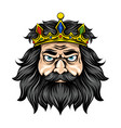 king with long and black hair vector image
