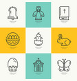 linear icons with symbols of easter vector image