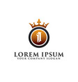 luxury letter i with crown logo design concept vector image