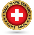 Made in Switzeland gold label vector image vector image