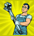 man repairman with a wrench vector image vector image