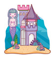 mermaid and undersea castle vector image