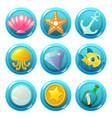 nautical circle game icons vector image vector image