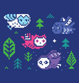 owls and trees - pixel vector image