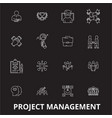 project management editable line icons set vector image vector image