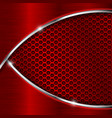red perforated background with metal waves vector image vector image