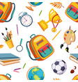school supplies seamless pattern stationery vector image vector image