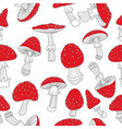 seamless pattern of fly agarics doodle vector image