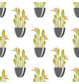 seamless pattern with antique vases green plants vector image vector image