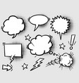 set hand drawn speech bubbles with halftone vector image vector image