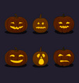 set of pumpkins on black background vector image vector image