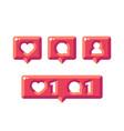 Shiny social media notification flat icons likes