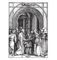 the marriage of joseph and mary is part of a vector image vector image