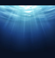 water surface blue ocean underworld with sun vector image vector image