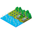 wind turbines in the river vector image vector image