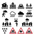 Flood natural disaster heavy rain icons set vector image