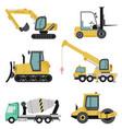 heavy construction machinery flat icon set vector image